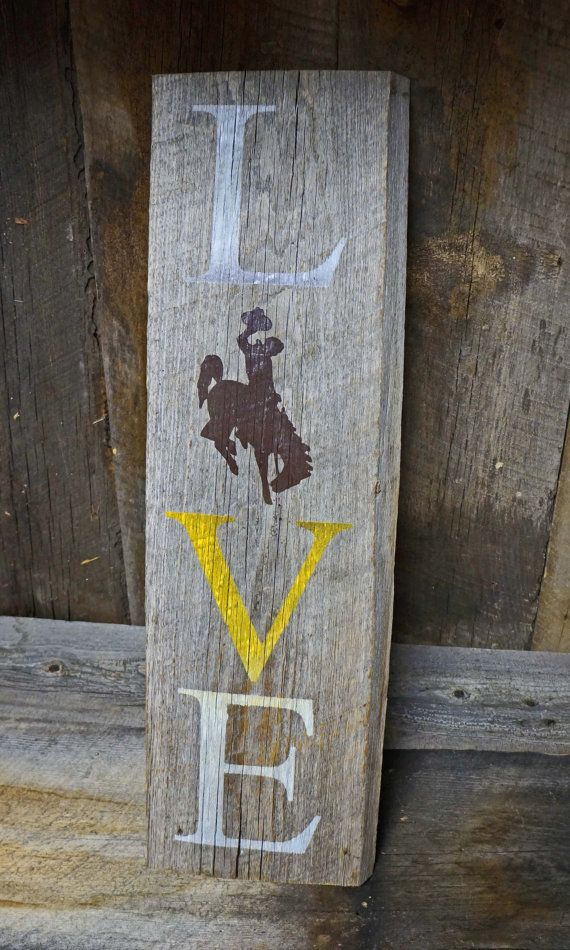 Wyoming Cowboys Multi Colored Barnwood Sign  by BroughttybNAPTIME