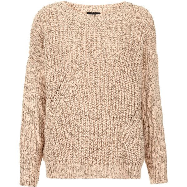TOPSHOP Knitted Chunky Rib Jumper ($84) ❤ liked on Polyvore featuring tops, sweaters, jumpers, shirts, topshop, nude, jumpers sweaters, topshop jumper, topshop tops and rib shirt