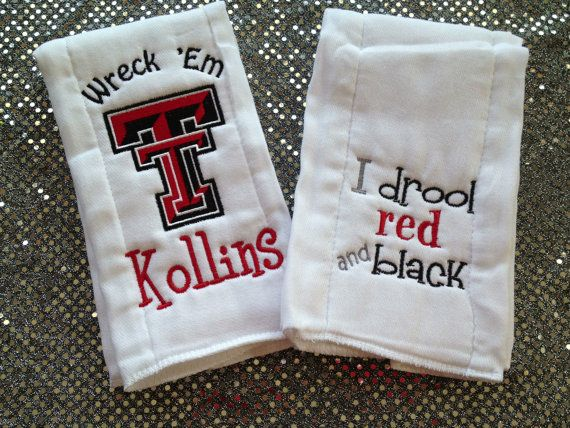 I Drool Red and Black AND Double T Personalized Texas Tech Burp Cloth Set