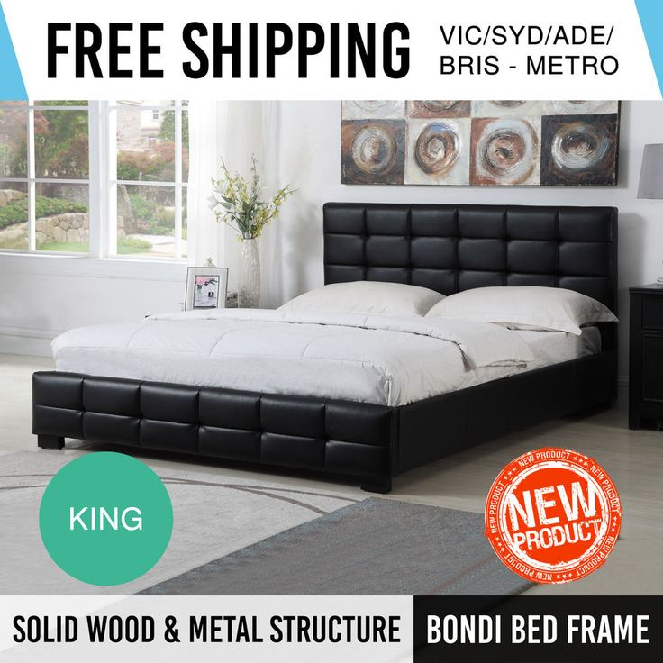 Bed Frame King Black PU Leather Bentwood Slat Metal Joint Wooden Legs Bondi
