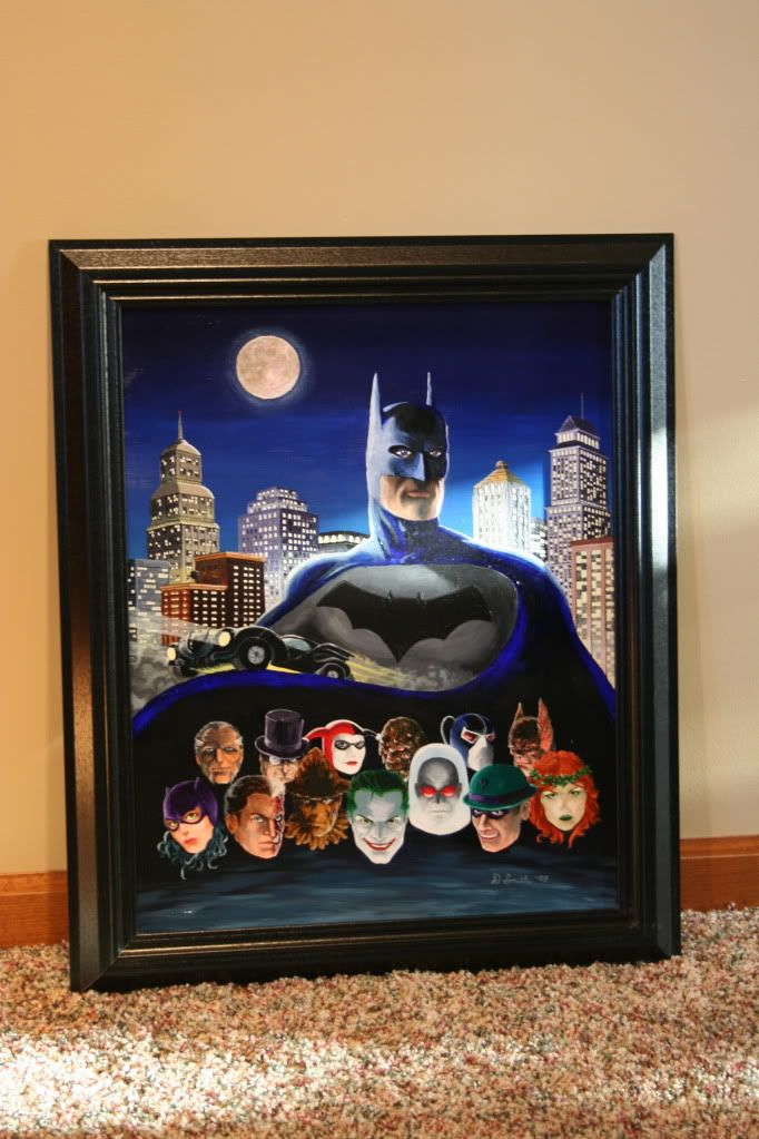 For my nephew Drake's room. He has a Batman theme. 2009 Acryllic.