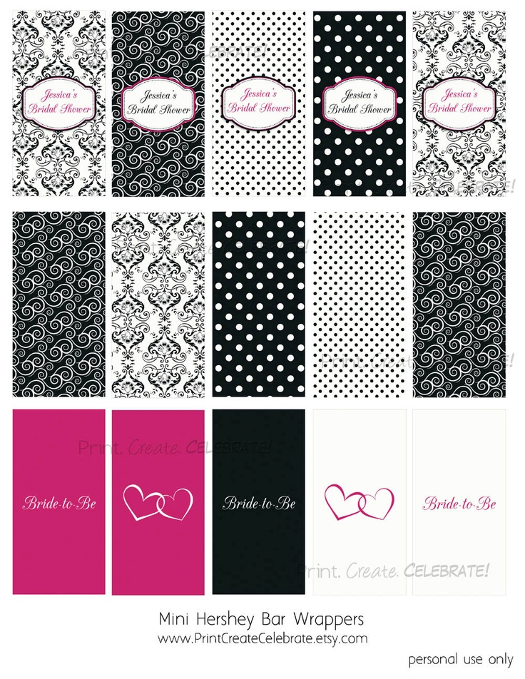 mini hershey bar candy wrappers party favor damask and dots bridal shower digital printable. Black Bedroom Furniture Sets. Home Design Ideas