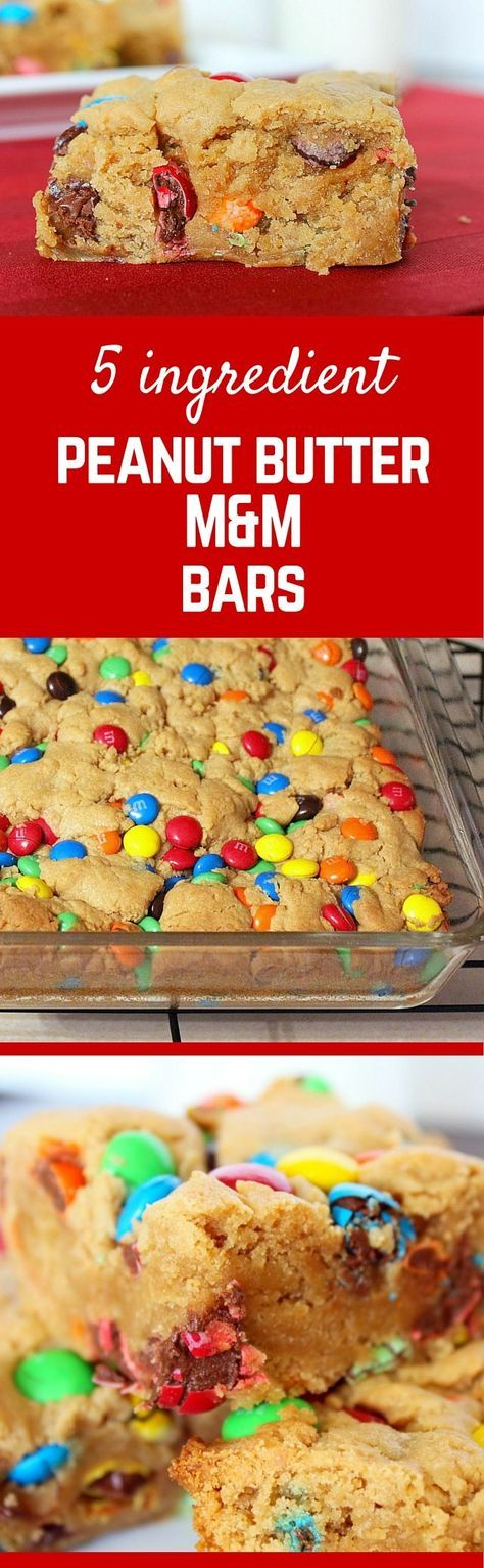 Irresistible M&M Peanut Butter Bars with only 5 ingredients! Get the easy dessert recipe on http://RachelCooks.com!