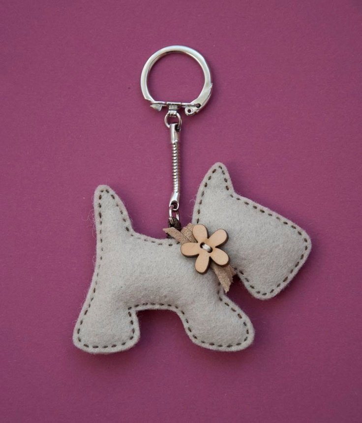 Little puppy with a wooden flower button - key chain pendant. $12.00, via Etsy.