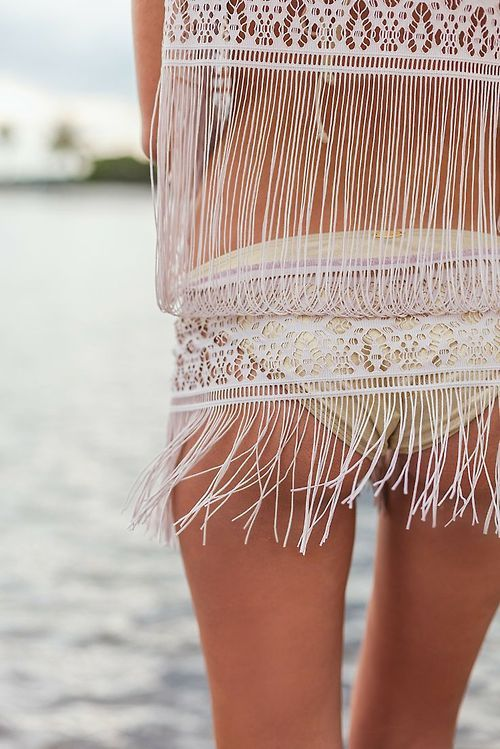Modern hippie fringe bathing suit for a boho chic allure. FOLLOW http://www.pinterest.com/happygolicky/the-best-boho-chic-fashion-bohemian-jewelry-gypsy-/ for the BEST Bohemian fashion trends in clothing  jewelry.