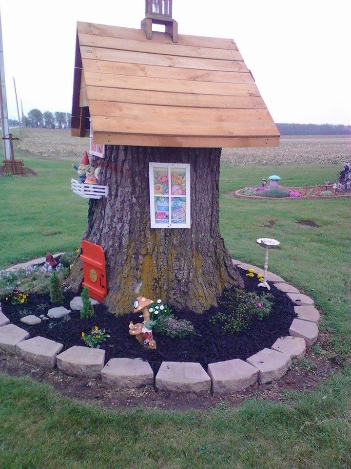Gnome Tree Stump Home: 18 Best Tree Stump Decorations Images On Pinterest
