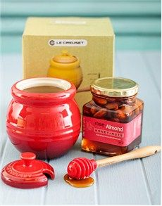 Birthday Presents and Flowers for Her: Le Creuset Honey Pot with Infused Honey Nuts!