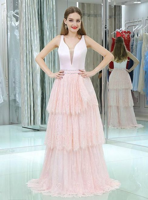 In Stock:Ship in 48 hours Sweet Pink Lace Satin V-neck Prom Dress