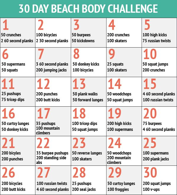 30 Day Fitness Challenges - The 30 Day Beach Body Workout Challenge