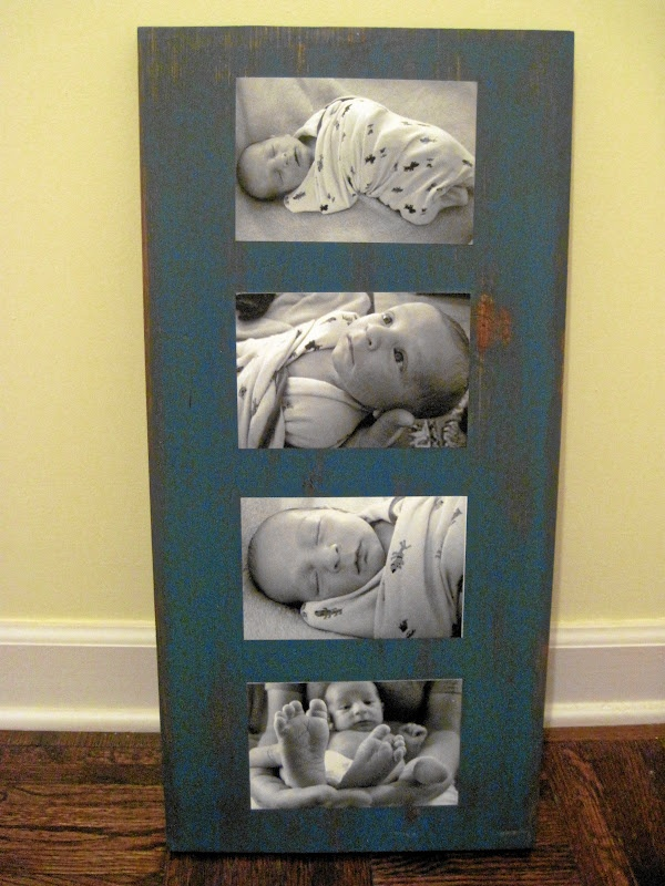 Stained board, paint it, distress it, mod podge on pictures and you have a cheap gift that is really priceless!