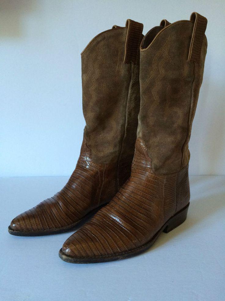 Sartone Leather Suede Cowboy Boots Women Sz 6 Western Riding Paris (see video)