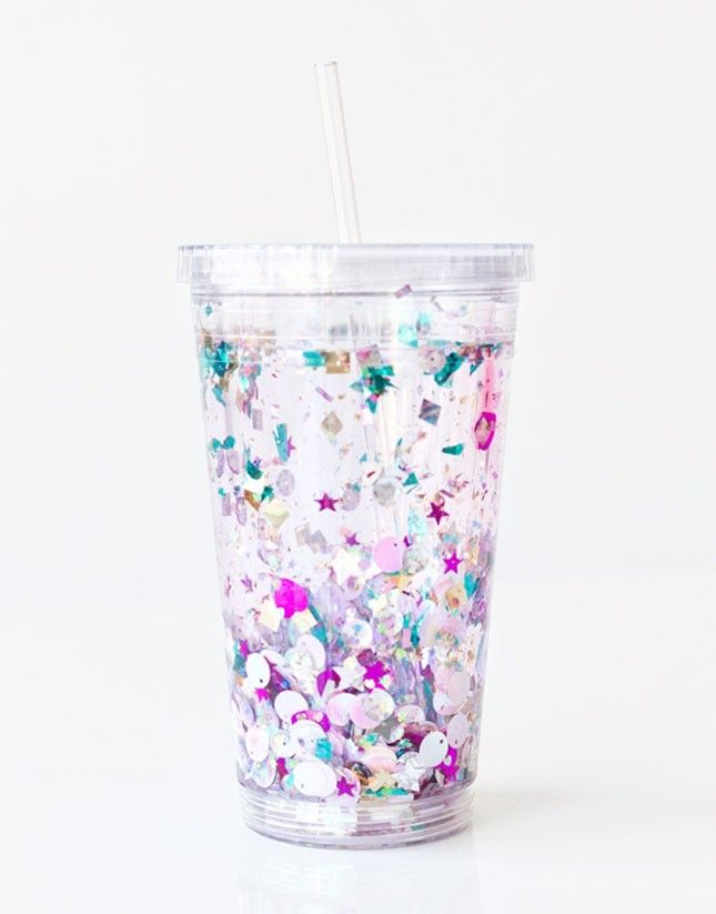 Fun bachelorette party gift for bridesmaids -Gift your bridesmaids with a DIY floating glitter tumbler at your bridal shower