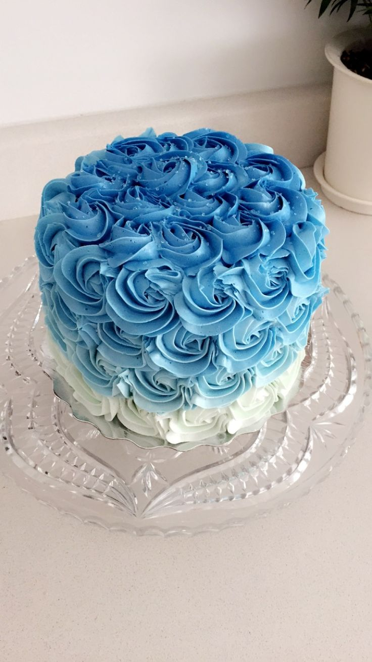 Blue Ombr 233 Rosette Cake Cake Decorating Buttercream