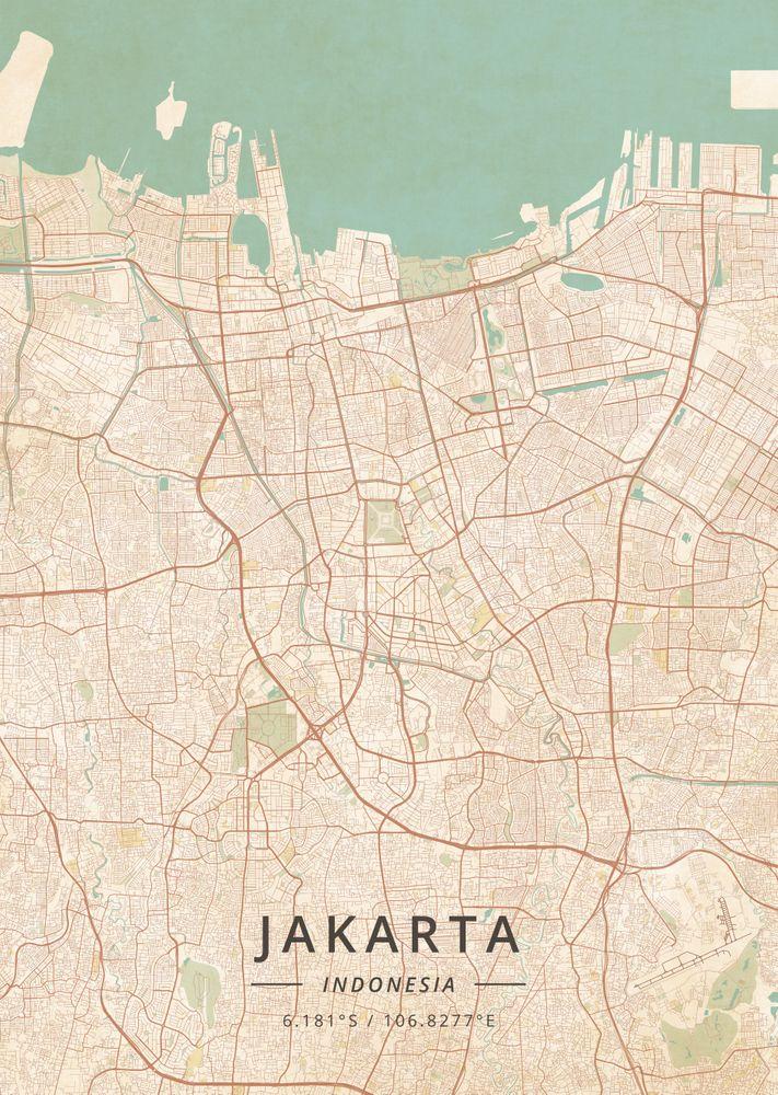 Jakarta Indonesia Vintage Map Art Print By Designer Map Art X Small In 2020 Vintage Maps Art Map Art Vintage Map