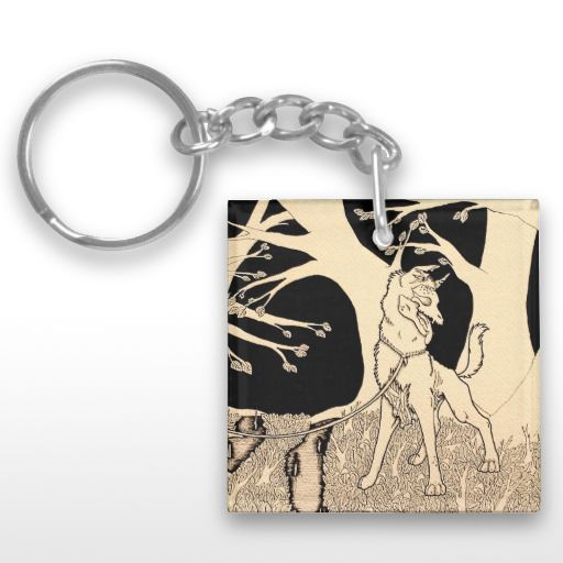 """Walking a Dead Dog"" Illustrated zombie dog Keychain"