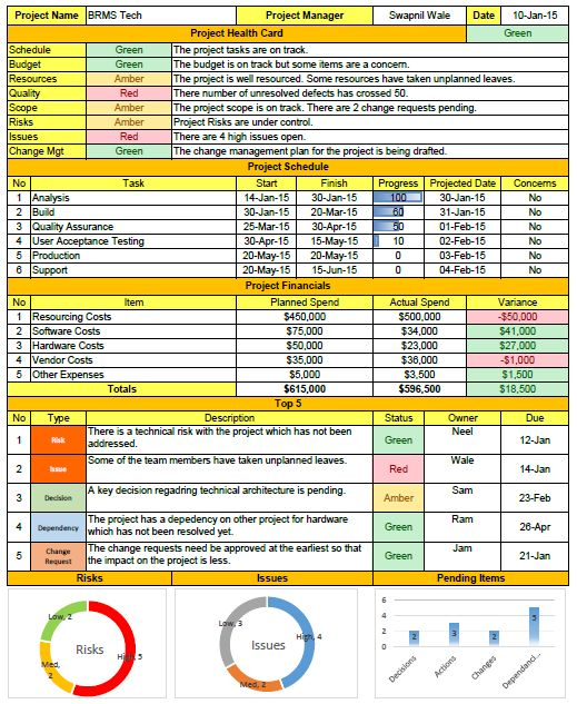 weekly status report format excel download project project