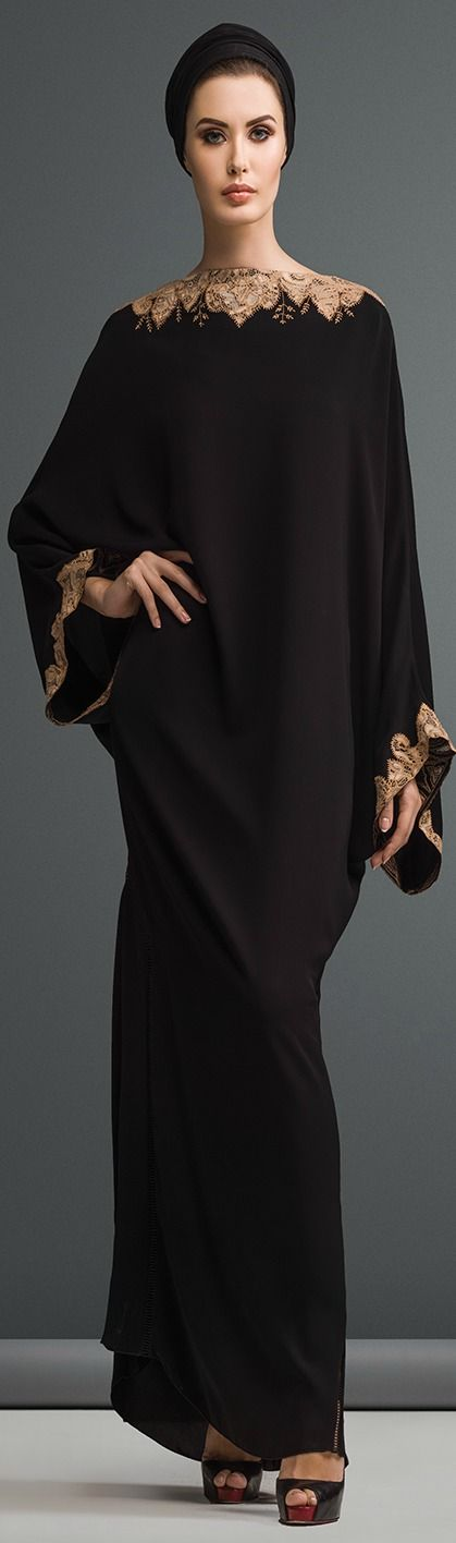 Mauzan abaya Dubai..Work : Kashmiri lace with embroidery design Fabric : Black Crepe