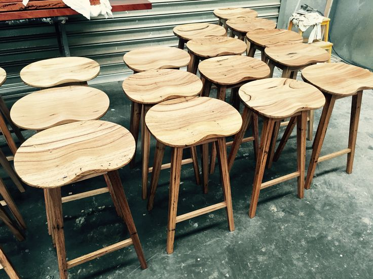 Recycled Messmate timber stools.  Scoop tractor.  www.christiancolefurniture.com.au #scandinavian #timber #stools