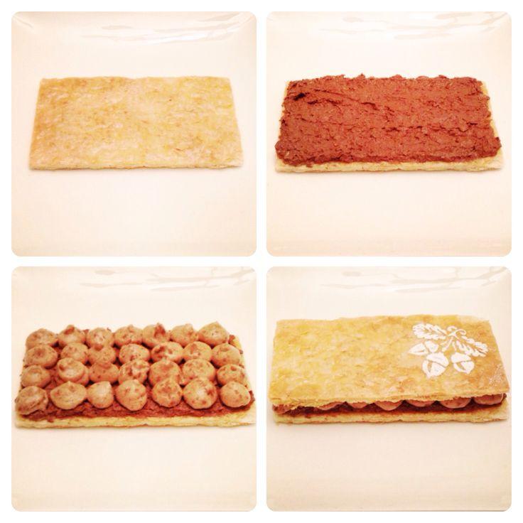 LaBKRY Millefeuille praliné noisettes! #labkry #noisettes #hazelnuts #praliné #chocolate #millefeuille #dessert #dessertmontreal #mtl #montreal #514 #yul #icingsugar #sugar #stencil www.facebook.com/labkry Natasha Bouchard
