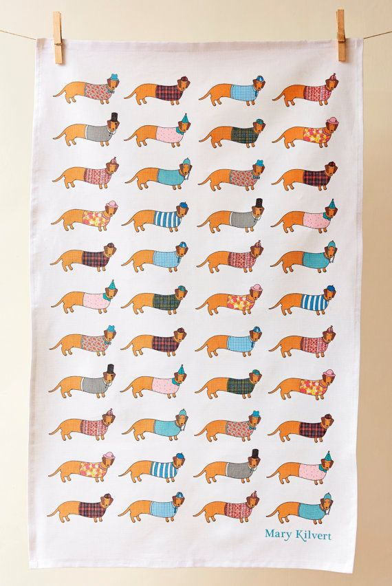 Larry The Long Dog Tea Towel by MaryKilvert on Etsy