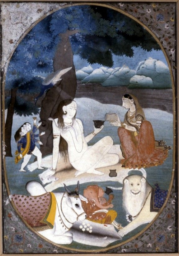 Shiva and his family, 1800–25. (Walters Museum)