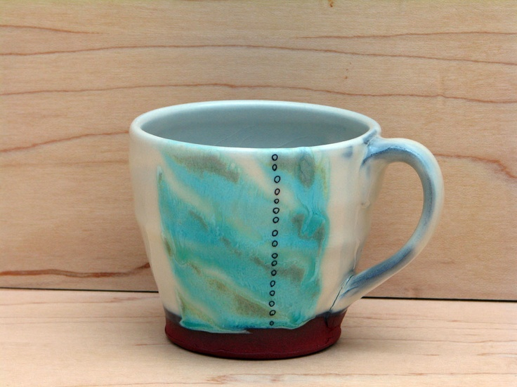 Hand made cappuccino pottery mug with turquoise gaze.  Kalika Bowlby Pottery-contemporary ceramics.