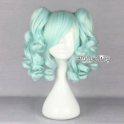 Fashion Black / Green / Purple Curly Ponytails Lolita Lady Cosplay Wig + Wig Cap