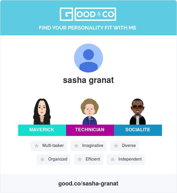 Hey! Just took Good&Co's personality test and discovered my personal strengths. Find out how our personalities match on Good&Co!