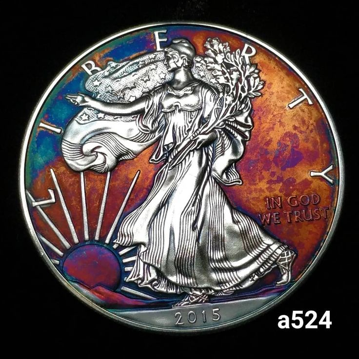 Rainbow Toned Silver American Eagle Coin 1 Troy Ounce Fine Silver High Grade Artistic Toning All Colors Silver Eagle Coins Eagle Coin American Silver Eagle