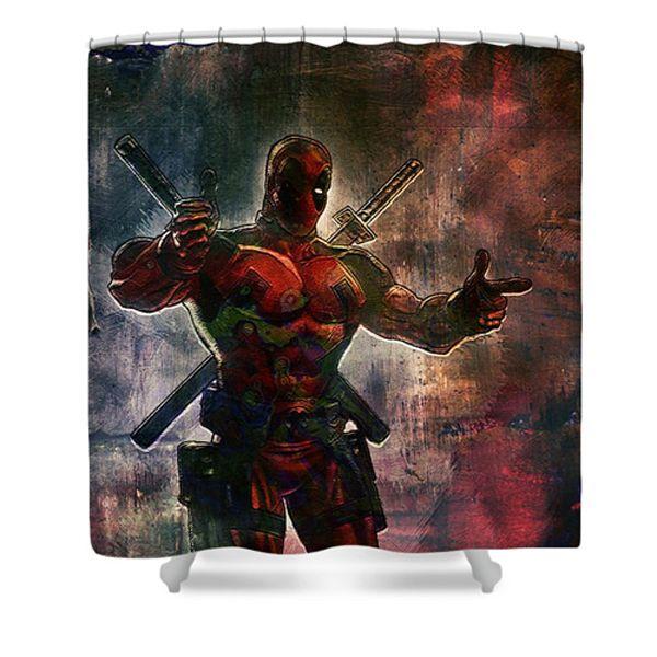 Batman Shower Curtain Featuring The Digital Art Deadpool Ai