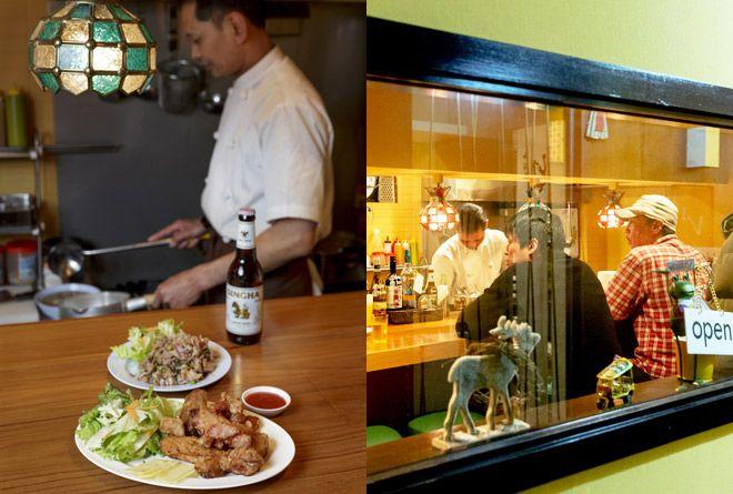 タイのイサーン地方出身のウィチャイさんが作るのは、青パパイヤのサラダの「ソムタム」、豚ひき肉のスパイシー和えの「ラープ」といったメジャーなものから、9種の新鮮なもつを煮込んだ「イサーン式牛もつ煮込み」や「ナマズのグリーンカレー」、「舟そば」など珍しいものも