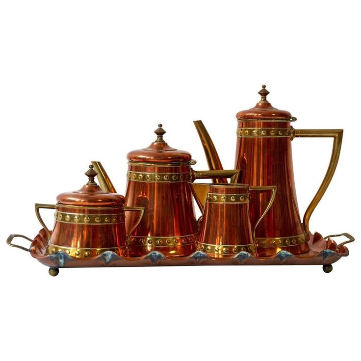 Circa 1920 ~ Copper Original English Coffee or Tea Service | From a unique collection of antique and modern tea sets at https://www.1stdibs.com/furniture/dining-entertaining/tea-sets/