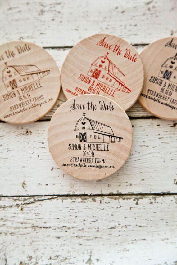 Items Similar To 100 Rustic Barn U0026 Farm Wedding   Save The Date Wood Magnet  Invitations On Etsy