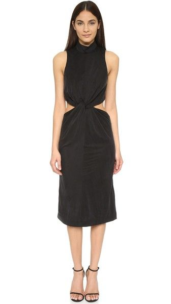 KENDALL + KYLIE Front Knot Jersey Dress in Black - $178