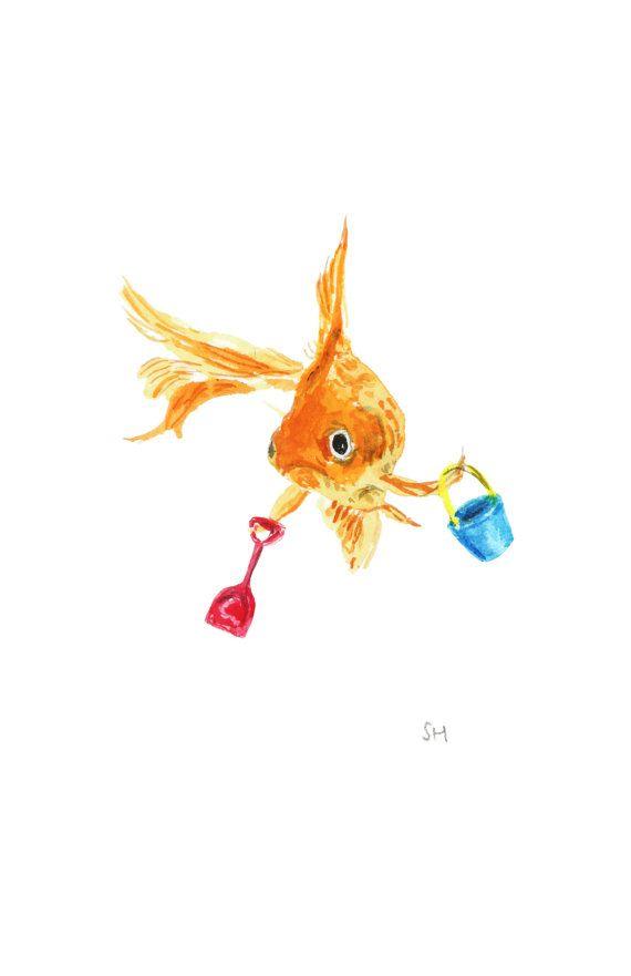 Small print  Goldfish at the seaside seaside by ShirleyHarveyArt