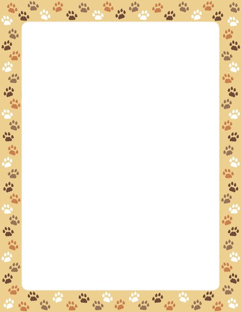page border featuring cat paw prints on a tan background. Free ...