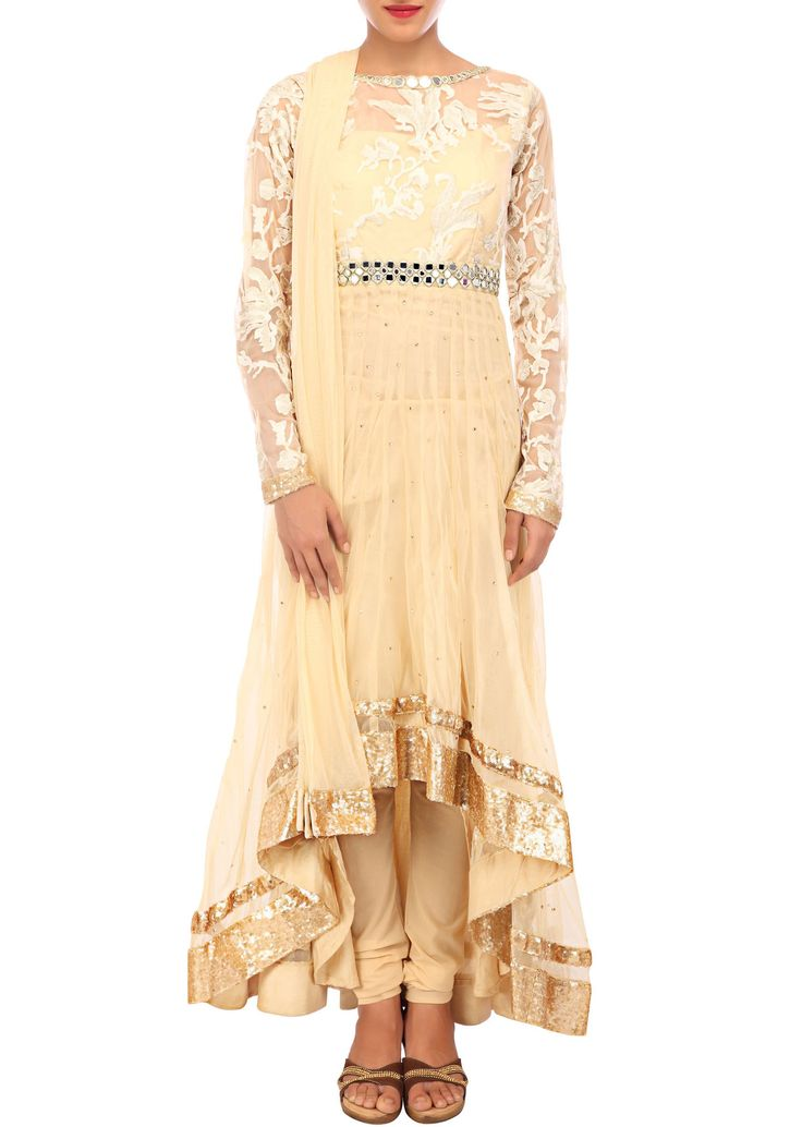 Cream anarkali suit adorn in mirror and zari embroidery only on Kalki