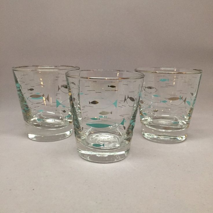 Libbey Mediterranean Atomic Fish Silver Turquoise Low Ball Glasses Set of 3 | eBay