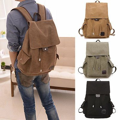 Vintage Uomo Zaino Borsa Tela Canvas Zainetto Backpack Scuola Viaggio Zaini Bag