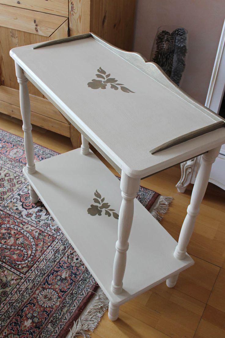 console patin e avec pochoir baroque esprit shabby chic baroque shabby et chic. Black Bedroom Furniture Sets. Home Design Ideas