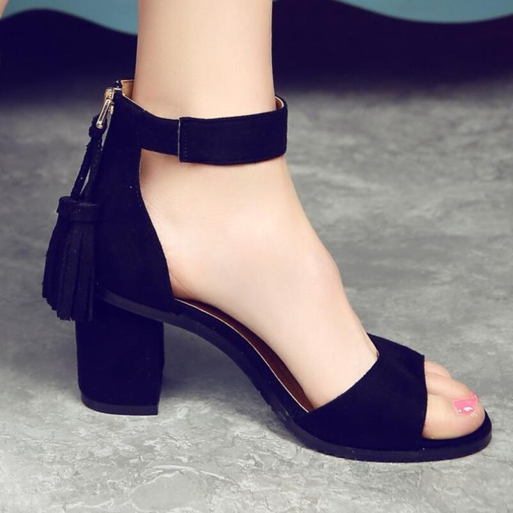{D&H}Woman Shoes 2017 summer Tassel Flock women sandals fringe sandal heels Thick high heels sandals sandalias de salto alto