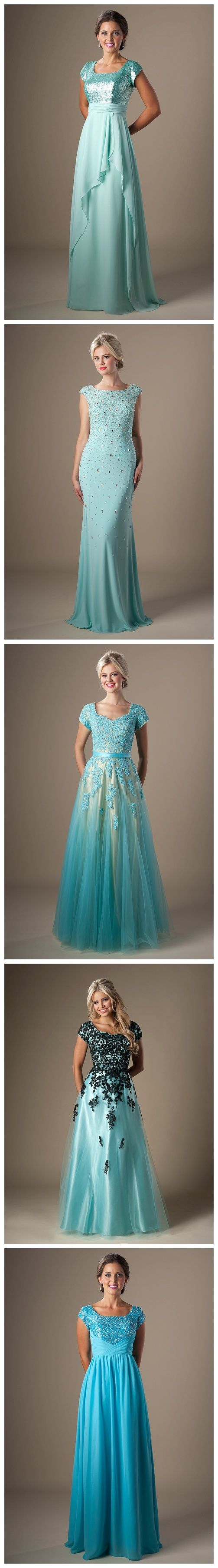 Modest prom dresses. Blue prom dresses. Prom fashion. Prom 2015. The one with the black lace is my absolute favorite!! :)