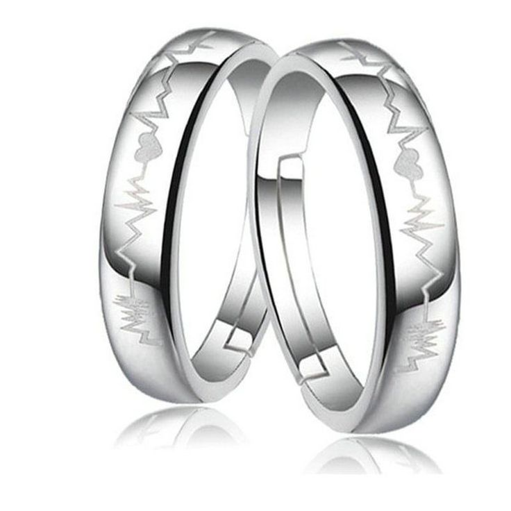 Sterling Silver Heartbeat Couple Promise Rings (Pair)
