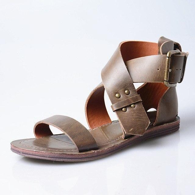 Mulheres de couro real apartamentos sandálias marrom amarrado praia verão sapatos mulher fivela …   – Products