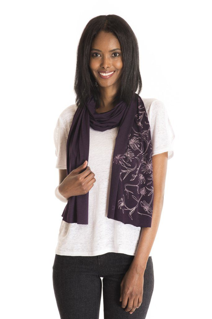 The Phacelia Scarf - women's spring summer fashion purple linen jersey floral scarf