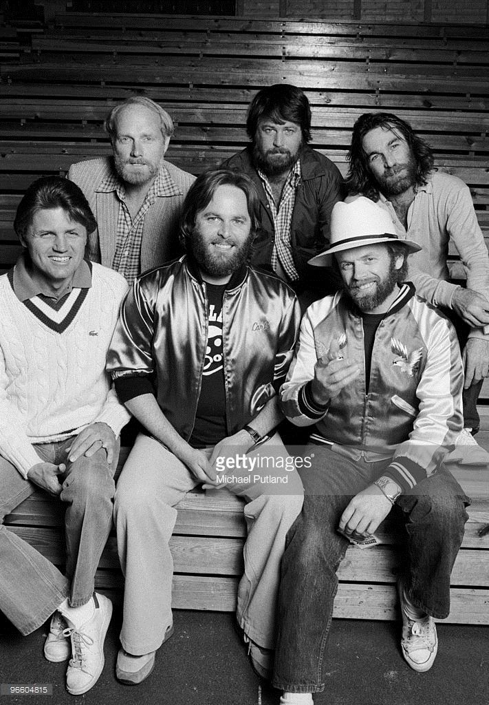 American pop group The Beach Boys, England, JUNE 1980. Back row, left to right: Mike Love, Brian Wilson and Dennis Wilson (1944 - 1983). Front row, left to right: Bruce Johnston, Carl Wilson (1946 - 1998) and Al Jardine.