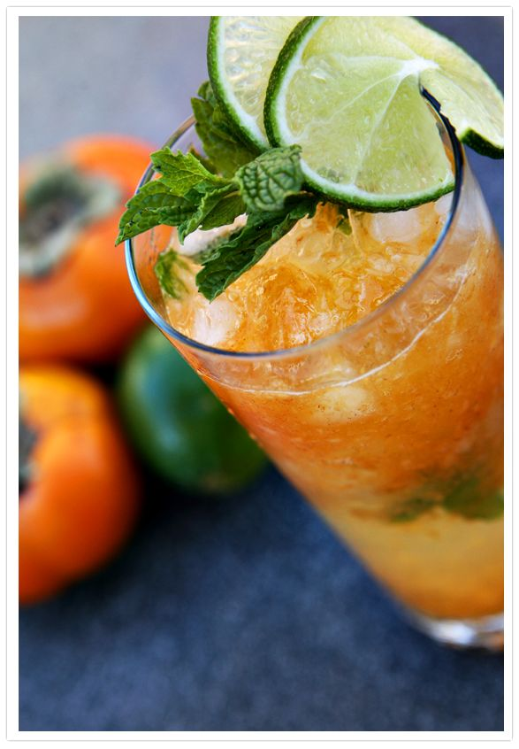 Persimmon Mojitos - the combination of rum and persimmons is magical! Make these for your fall fiesta!