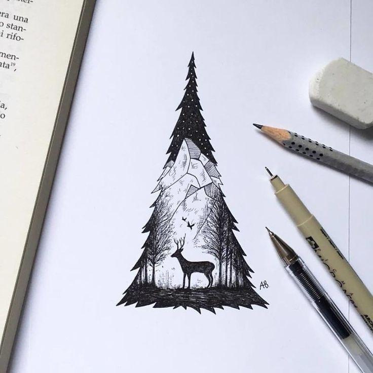 kara kalem ağaç çizimi