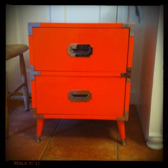 Charmant Lacquered Orange Campaign Side Table With Added Legs!