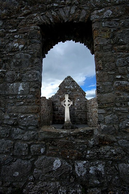 Celtic Cross, Clonmacnoise Cemetery, County Offaly, Ireland. By Jim Zuckerman.